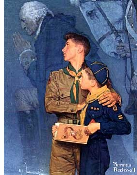 """Norman Rockwell captured this moment in his  painting """"Our Heritage"""" as young Scouts remember George Washington at Valley Forge where he prayed asking God's help for the soldiers huddled in the cold."""