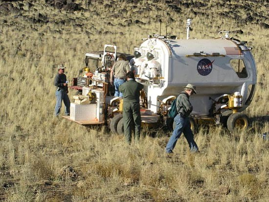 Courtesy/Jon Herges<p> A NASA crew performs some testing outside Flagstaff in preparation for a forthcoming mission to the moon.