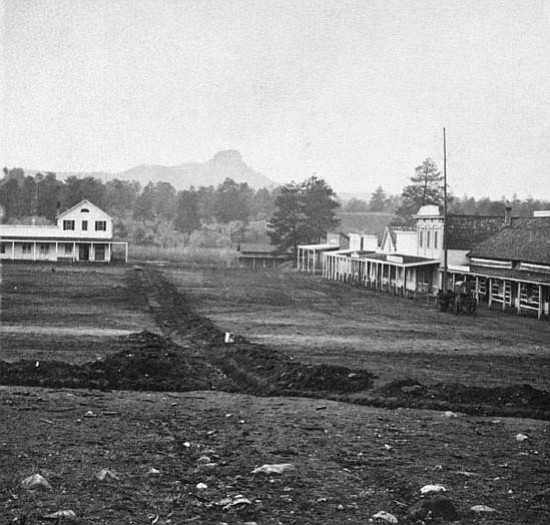Courtesy/Sharlot Hall Museum<p> Gurley Street in the early 1870s looking west to Thumb Butte. Note the Plaza grounds bordering the street on the left had no fence at this time. H.W. Ward, a squatter, took up residence on the Plaza in 1867, attempting to put up his own house and fence.