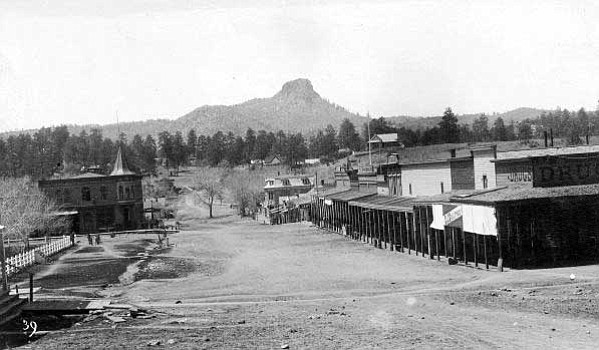 Sharlot Hall Museum/Courtesy photo<br> Gurley Street in the 1890s looking west, the plaza complete at that time with trees, courthouse and fence.