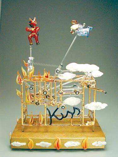 Courtesy<p> Bandhu Scott Dunham's kinetic angel and devil piece.