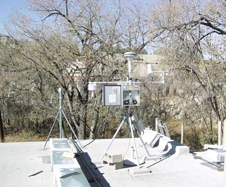 ADEQ/Courtesy photo<br> This is the Arizona Department of Environmental Quality's air quality monitoring equipment, which sits atop a building at Prescott College.