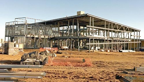 Matt Hinshaw/The Daily Courier<br> The Town of Prescott Valley's  new library takes shape.
