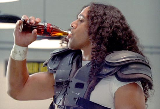 The Associated Press/<br>Coca Cola Co.<br>In this image provided by the Coca-Cola Co., the Pittsburgh Steelers' Troy Polamalu brings to life a vintage ad featuring Joe Greene in this Coke Zero commercial shown during Super Bowl XLIII.