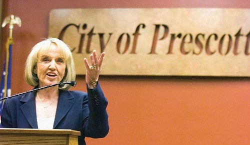 Matt Hinshaw/The Daily Courier<p> Arizona Governor Jan Brewer speaks about her five-step economic recovery plan Thursday afternoon at Prescott City Hall.
