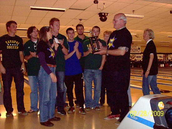 Seen here are Yavapai College president Jim Horton and some of the college teams, including players from the Championship Soccer team.