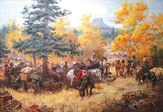 "Courtesy<p> George Phippen's ""The Walker Party"" is one of many of the founding Cowboy Artist's works that will be on display at the Phippen Museum show ""Remembering George."""
