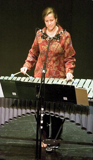"""Matt Hinshaw/ The Daily Courier<p> Maria Vomlehn Flurry performs """"La Cunita"""" on the vibraphone Saturday afternoon during the Prescott Fine Arts Association presentation """"The Music of Henry Flurry"""" in downtown Prescott."""