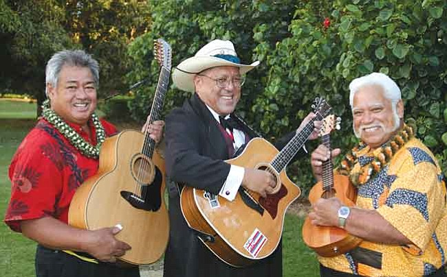 Courtesy Grammy winners George Kahumoku Jr., Dennis Kamakahi and Richard Ho'opi'i perform at the Elks Opera House Sunday, March 29.