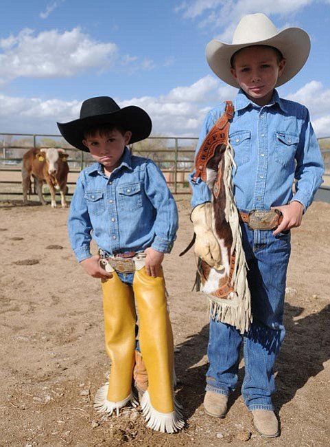 Les Stukenberg/The Daily Courier Jaxton, 5, and J.C. Mortenson, 8, are ready for some rodeo action in town. Thanks to their father, Judd, the Prescott Bull Bash gets started this Saturday.