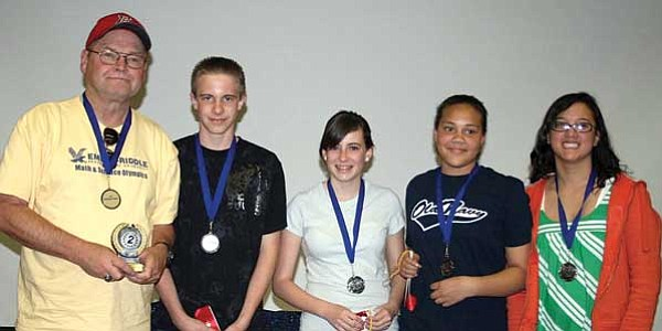 Courtesy photo<br> The Sacred Heart Middle School team was comprised of, above from left, sixth-grade teacher and coach Mr. George Hill, Landon Corkery (7th), Demi Corkery (7th), Alexes Niekamp (7th) and Danielle Barger (8th).
