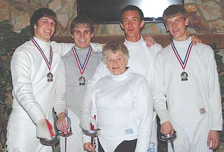 Courtesy<br>Representing Salle d'Escrime, Prescott's local fencing club, (from left) Michael Fenech, Ehren Falk, Garrett Crooks and Charlie Carlisi join their coach Patricia Waples.