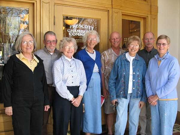 Courtesy photo<br> Prescott Chamber of Commerce 2009 walking tour guides, from left, Katherine Conroy, Ken and Evelyn Edwards, Lucy Hanson, Larry Richey, Jerry Olson, Mike King and Laura Zambrano, stand outside the chamber's Visitors Information Center.