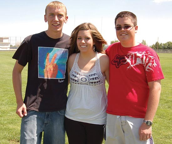 Jerry J. Herrmann/The Daily Courier<p> The top three students in Chino Valley High School's Class of 2009 - David Sexton, co-valedictorian; Rebeccah Cataanzariti, salutatorian; and Brent Simpson, co-valedictorian - look forward to graduating at 7 p.m. Thursday in the CVHS football stadium.