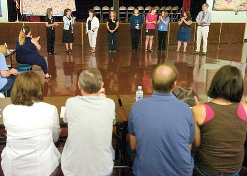 Matt Hinshaw/The Daily Courier<p> Taylor Hicks special education teachers introduce themselves Thursday night during the special education open house for parents and students at Taylor Hicks Elementary in Prescott.