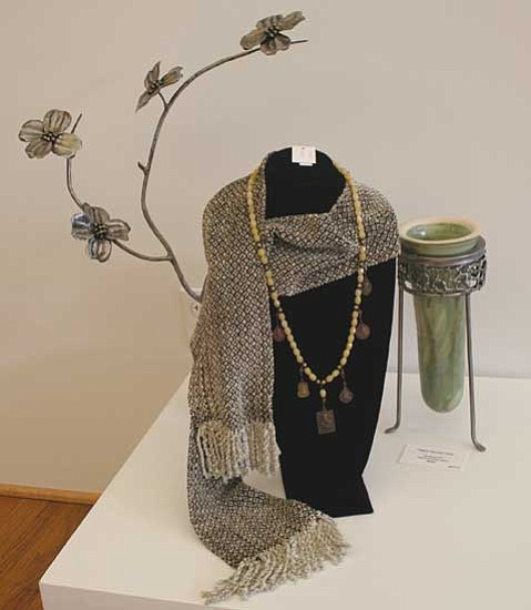 """Courtesy photos<br> """"Handwoven Scarf"""" by Jo Manginelli (above) and """"Geometric Zen Vessel"""" by Bill Colligen are both on display at 'TIS Gallery and the Mountain Artists Guild, respectively, this week."""