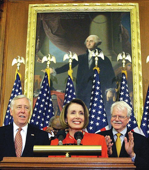 Alex Brandon/The Associated Press<p> Speaker Nancy Pelosi is joined by House Majority Leader Steny Hoyer and Rep. George Miller, D-Calif., during a press conference at the U.S. Capitol Saturday after the passage in the house of the health care reform bill.