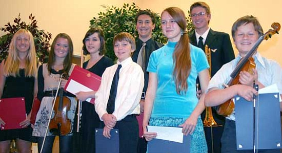 Sue Tone/Courtesy<br>Top winners of the Yavapai Symphony Guild's Young Musicians' Scholarship Competition will perform free to the public at 7 p.m. Sunday, Nov. 15, at the Prescott Adult Center, 1280 E. Rosser Street. The YSG gave out a total of $13,600 to 28 students this year. From left are Lexi Rindone, 16, Senior Piano; Tiffany Weiss, 17, Senior Strings; Hannah Henry, 18, Senior Brass/Woodwind; Timothy de Laveaga, 14, Junior Voice; James Grandjean, 18, Senior Voice; Anna Flurry, 13, Junior Piano; Aleix Koster, 14, Junior Brass/Woodwind; and Johan Glidden, 11, Junior Strings.