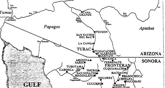 """Courtesy This 18th century northwestern New Spain map shows settlements, missions and presidios (with Arizona/Sonora boundary drawn in as located today). The name """"Arizona"""" was first known in 1734-36 at a rancheria owned by Bernardo de Urrea in Sonora, just south of today's border.        Courtesy This 18th century northwestern New Spain map shows settlements, missions and presidios (with Arizona/Sonora boundary drawn in as located today). The name """"Arizona"""" was first known in 1734-36 at a rancheria owned by Bernardo de Urrea in Sonora, just south of today's border."""