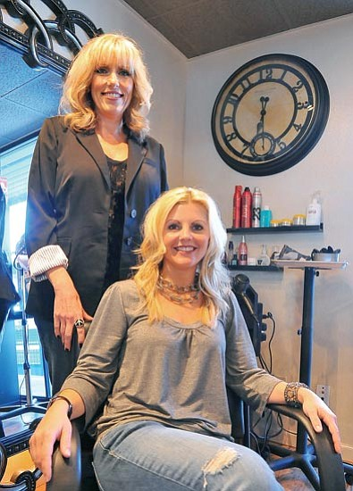 Matt Hinshaw/The Daily Courier<p> Lori Sherwood and Sam Irwin opened Duet Hair Studio this past month in Prescott, where they offer cuts, coloring and other services.