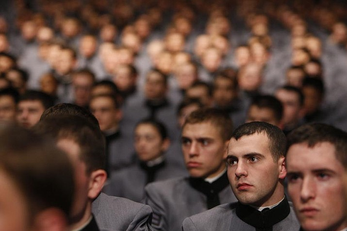 Charles Dharapak/The Associated Press<p> Cadets listen as President Barack Obama speaks about the war in Afghanistan at the United States Military Academy at West Point, N.Y., Tuesday.