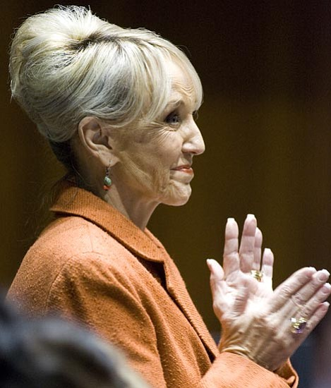 Carlos Chavez/The Arizona Republic, AP<br> Arizona Gov. Jan Brewer on Friday proposed spending cuts throughout state government, including a 5 percent pay reduction on April 1 for most state employees to save $15 million through June 30, the end of the current fiscal year.