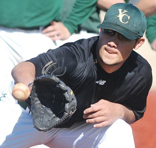 A Yavapai College baseball player participates in a drill during practice on Tuesday. The Roughriders open their season Friday with a doubleheader at Salt Lake Community College (Utah).  Les Stukenberg/The Daily Courier