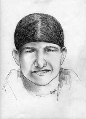 Prescott Police Department<br><br/>An artist drew a composite sketch, above, of the stabbing suspect as described by the victim. Below, Prescott police captured a photo from video of the stabbing suspect.