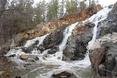 Joanna Dodder/The Daily Courier<br/>A spectacular three-pronged waterfall roars out below Lynx Lake Dam, accessible via Prescott National Forest Trail 444.