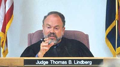Les Stukenberg/The Daily Courier, file<br />Judge Thomas Lindberg makes a point to defense and prosecuting attorneys in this file photo.<br />
