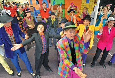 "Matt Hinshaw/The Daily Courier<br /><br /><!-- 1upcrlf2 -->Members of the Young Star Musical Theatre perform the first act of ""Guys and Dolls"" Wednesday afternoon during a dress rehearsal."