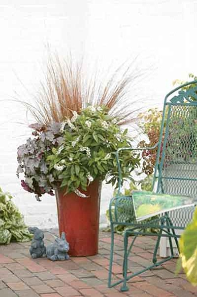 Courtesy photo<p>Use plants of varying heights and textures in containers.