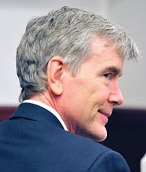 Les Stukenberg/The Daily Courier<br> Steven DeMocker , 56, a Prescott stockbroker charged with first-degree murder and faces the death penalty in the July 2, 2008, bludgeoning death of his former wife.