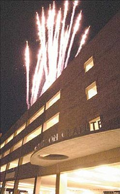 Courier file<br>A fireworks show concludes festivities at the grand opening of the new parking garage on Granite Street in Prescott back in June 2005.