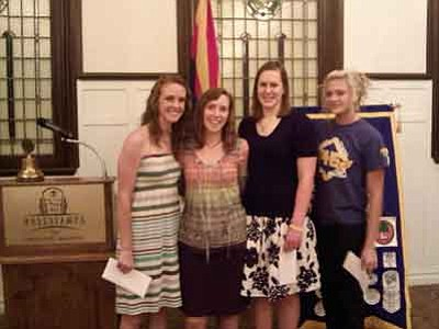 Prescott Kiwanis Club/Courtesy photo<br>Hannah Graber, Sara Collette, Paige Ramm and Emily Goswick were among the 15 graduating high-school seniors who received $1,000  scholarships from the Prescott Kiwanis Club.