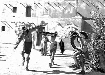 Smoki Museum/Courtesy photo<br> Smoki dancers rehearse at the Prescott rodeo arena before a performance in this undated photograph.
