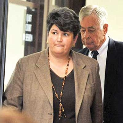 Les Stukenberg, file/The Daily Courier<br> Former developer and state senate candidate Elise Townsend and her attorney Albert Freeman arrive in Judge Thomas Lindberg's courtroom in January 2010.