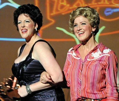 """Brett Soldwedel/The Daily Courier<br>April Manchester as Patsy Cline, left, and Linda Fine as Louise Seger sing and dance at a rehearsal of """"Always Patsy Cline"""" at the Prescott Fine Arts Theater on Monday."""