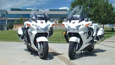 Courtesy the Prescott Valley Police Department<br> Prescott Valley police bought two new police motorcycles with grant money from the Arizona Governor's Office on Highway Safety.