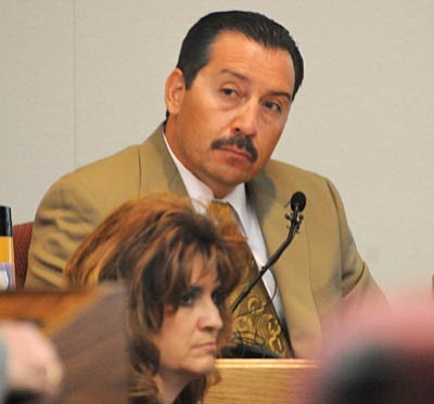 Brett Soldwedel/The Daily Courier<br> Detective Alex Jaramillo of the YCSO testifies during Steven DeMocker's trial in Prescott on Thursday.