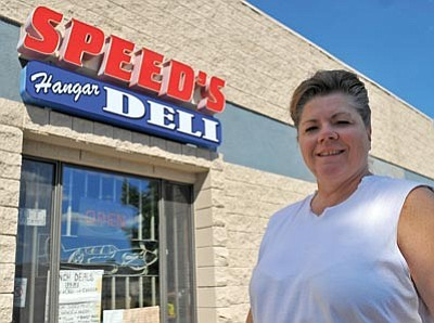 Matt Hinshaw/The Daily Courier<br /><br /><!-- 1upcrlf2 -->Debra Kovacs, owner of Speed's Hangar Deli in Prescott, has been in business for the past 18 years.