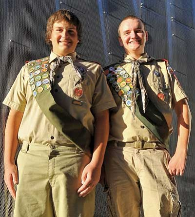 Matt Hinshaw/The Daily Courier<br> Boy Scouts Alex Theodoroff and Trenton Erickson both with Troop 57 will be receiving their Eagle Scout on October 2 at the Moose Lodge in Prescott Valley.
