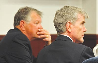 Les Stukenberg/The Daily Courier, file<br>In this April 7, 2010 file photo, defense attorney John Sears and defendant Steven DeMocker attend pretrial hearings and motions. Sears and the rest of the defense's legal team got approval from the Arizona State Supreme Court to withdraw from the trial.