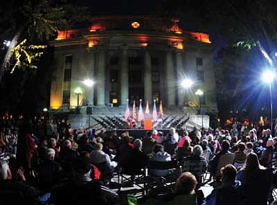 Les Stukenberg/The Daily Courier<br> Republican candidates gather on the steps of the Yavapai County Courthouse on election eve.