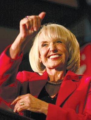 Matt York/The Associated Press<br> Gov. Jan Brewer speaks Tuesday at an election night party in Phoenix.