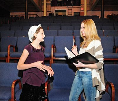 Brett Soldwedel/The Daily Courier<br> Sage Taylor, 10, left, is a playwright and discusses being part of the upcoming Young Playwright Festival with Tiffany Antone.