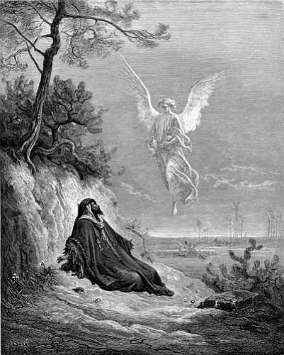 A wood engraving by French artist Gustave Dore, circa 1855, depicting a scene from the Bible in 1 Kings 19:5. An angel comes to comfort the prophet Elijah, who is so discouraged he wishes to die.
