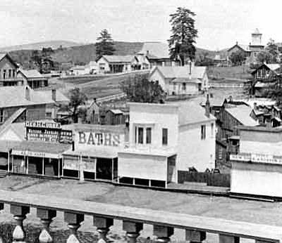 Sharlot Hall Museum/Courtesy photo<br>The Fremont House is seen here circa 1880 at its original location on the corner of East Gurley and Marina streets.  The house, at the base of the large tree, was moved to Union Street in 1903; the Carnegie Library was built on the site in 1904; and the Elks Opera House was built next to it in 1905.