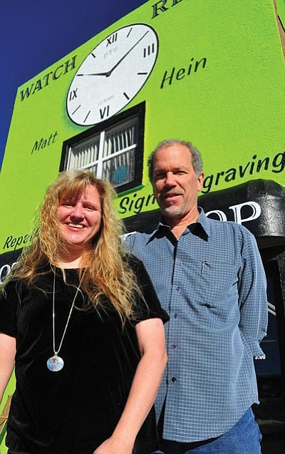 Les Stukenberg/The Daily Courier<br> Matt and Tracy Hein pose in front of Prescott Trade Shop at 8690 E. Highway 69 in Prescott Valley.