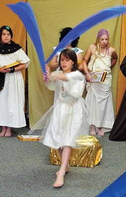 Les Stukenberg/The Daily Courier<br /><br /><!-- 1upcrlf2 -->Kiva Keith performs a dance during the Ancient Egypt Celebration performance that the Skyview School intermediate 5th and 6th graders put on for other students at the school on Thursday.